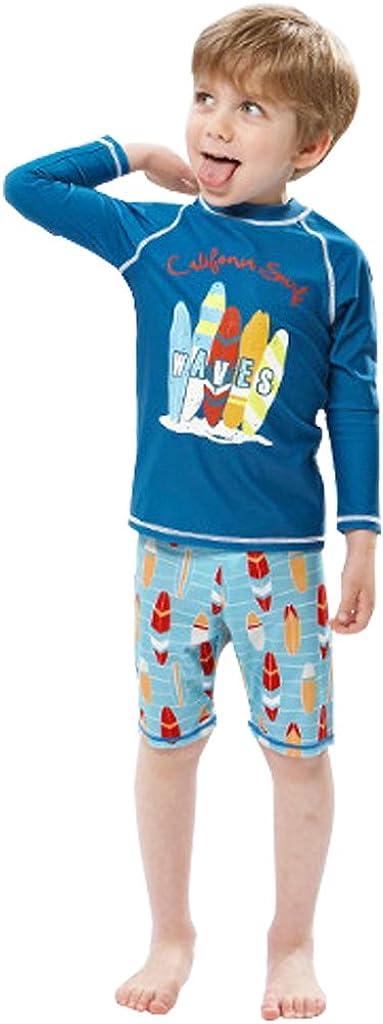 Gogokids Baby Boys Long Sleeves Swimsuit Kids 2 Pieces Swimwear Swim T-Shirt and Trunks