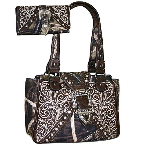 Western Concealed Embroidered Camo Buckle Handbag Purse Wallet Set -Cam