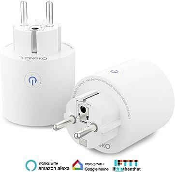 Enchufe Inteligente Wifi,LONGKO Smart Enchufe Inalámbrico Compatible con Alexa Echo Google Home e IFTTT, WiFi salidas con temporizador y función de cuenta regresiva (2 Pack): Amazon.es: Bricolaje y herramientas