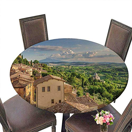 PINAFORE Luxury Round Table Cloth for Home use Landscape of The Tuscany seen from The s of Montepulciano Italy for Buffet Table, Holiday Dinner 55