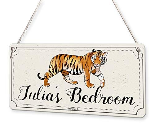 Tiger Wild Animal Personalised Childs Bedroom Door Sign Name Plaque