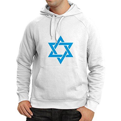 lepni.me Unisex Hoodie Star of David - Shield of Magen David - Jewish Symbol (X-Large White Blue) - Glitter Stars Black Shield