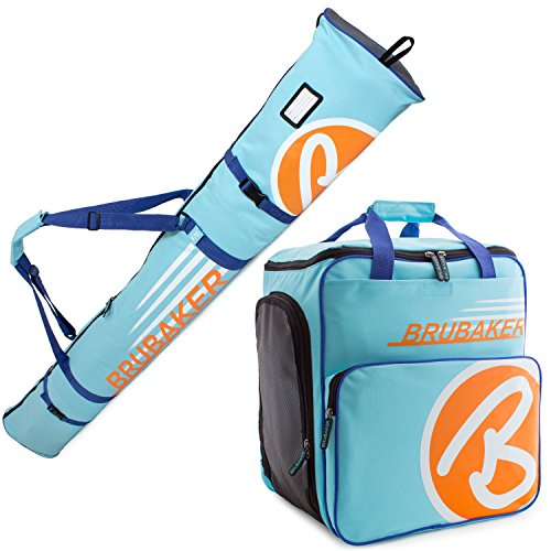 Skis Boots Poles (BRUBAKER Champion Combo - Limited Edition - Ski Boot Bag and Ski Bag for 1 Pair of Ski up to 170 cm, Poles, Boots and Helmet - Light Blue Orange)