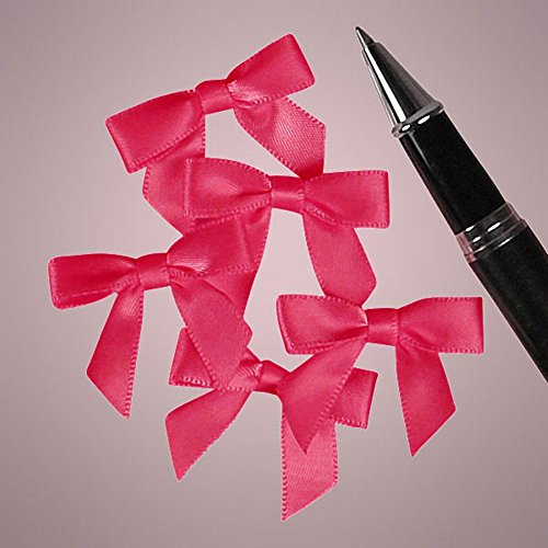 Mini Shocking Pink Satin Bows - 1 3/8in. Wide (50) by Sophie's Favors and Gifts