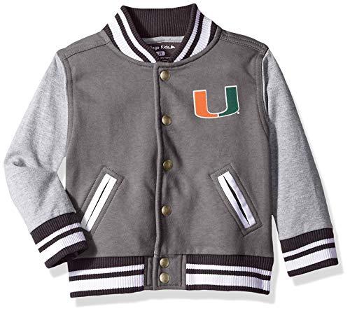 NCAA Miami Hurricanes Children Unisex Toddler Letterman Jacket, 3 Toddler, Pewter/Oxford