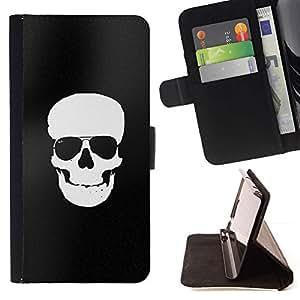Momo Phone Case / Flip Funda de Cuero Case Cover - Negro blanco del cráneo minimalista Sombras - LG G4 Stylus H540