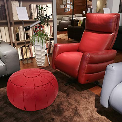Rotot Decorative Pouf, Ottoman, Bean Bag Chair, Footstool, Foot Rest, Storage Solution or Wedding Gifts (Unstuffed) (red)