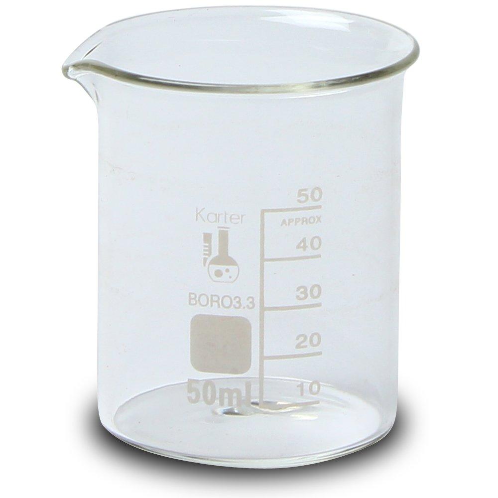 50ml Beaker, Low Form Griffin, Borosilicate 3.3 Glass, Graduated, Karter Scientific 213D41 (Case of 48)
