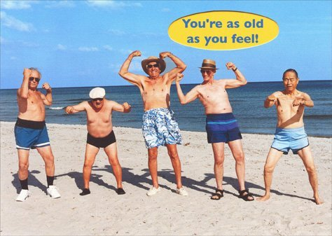 Five Senior Men Flexing Their Muscles - Graphique de France Funny Birthday Card