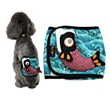 Stock Show 1Pc Male dog Belly Band, Washable Blue Wave Printed Cotton Stuffed Fish Pet Diapers Health Wrap with Velcro for Boy Puppy/Doggie