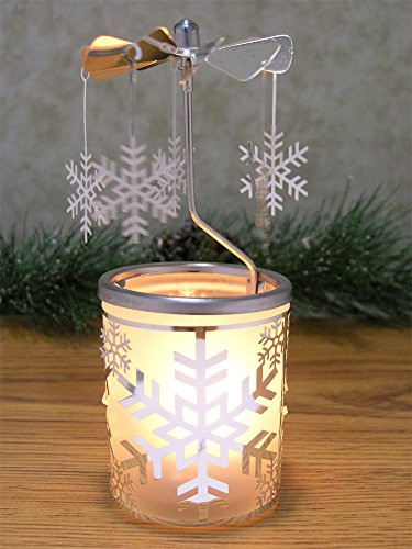 Snowflake Candle Holder - Spinning Snowflakes Rotate Around this Silver Frosted Glass Candle Holder - Scandinavian Design - Carousel Candle Holder - Frosted Design Side Glass