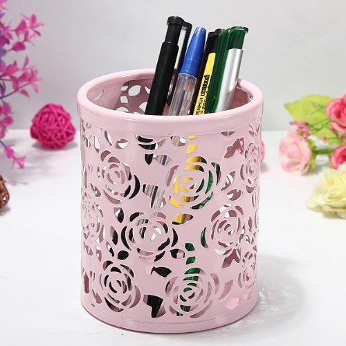 CITY Creative Hollow Rose Pattern Metal Pen Pencil Pot Holder Organizer - Pink
