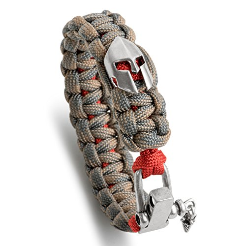 Kayder Antique Silver Spartan Helmet Charm Paracord Bracelet with Adjustable Metal D Shackle Closure, Boys and Men Jewelry Gift, Camo(Tan/Grey) and Thin Red Line