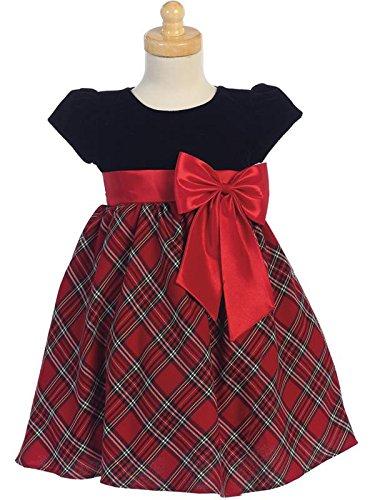 Baby Girl Velvet Bow Dress (Lito Baby Girls Valentines Day Dress With Velvet Bodice, Plaid Skirt and Bow (Red, 24 Months))