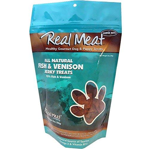 Real Meat Jerky Treats Cat Treats - THE REAL MEAT COMPANY 828007 Dog Jerky Fish/Venison Treat, 12-Ounce