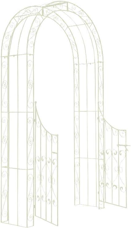 CLP Arco de Jardín con Puerta Sina I Enrejado con Puerta para Plantas de Escalada I Arco para Flores con Puerta en Diseño Clasico I Color:, ...