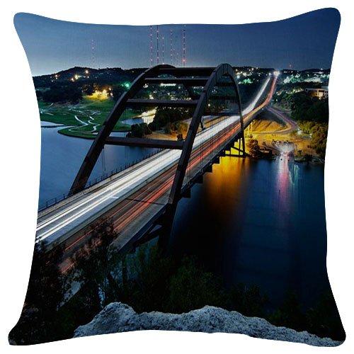 SHOBRILF 18x18 Inches Plush Cushion Covers Throw Pillowcases - Pennybacker Bridge Austin - Super Soft Fashion Simple Decorative Pillowcases