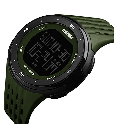 Men's Sports Watch Military 50M Waterproof Digital LED Large Face Wrist Watch with Silver Silicone Strap Simple Army Watch (1219) -