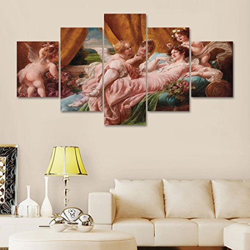 5 Pieces Canvas Modern Painting 19th Century Oil Painting The Toilette Of Venus After Francois Wall Decor Artwork Art Home Decor for Living Room Pictures HD Printed Framed Ready to Hang(60''Wx32''H)
