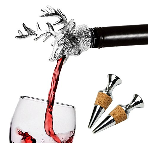 Wine Aerator Pourer Christmas Deer Head Wine Decanter and Wine Bottle Stopper Wine Accessories Gifts (Set A) ()