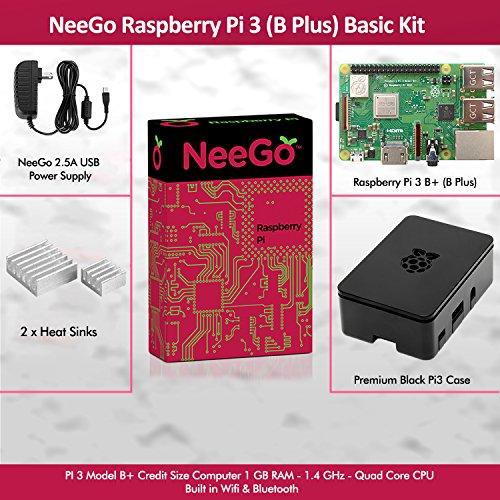 NeeGo Raspberry Pi 3 B+ (B Plus) Basic Kit Pi Barebones Computer Motherboard with 64bit Quad Core CPU & 1GB RAM, Black Pi3 Case, 2.5A Power Supply & Heatsink 2-Pack by NeeGo (Image #1)