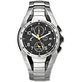 Seiko SNA473 Men's Black Dial Two Tone Steel Chronograph Alarm Watch