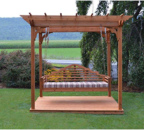 A & L Furniture Co. Western Red Cedar 8'x10' Pergola w/Deck & Swing...