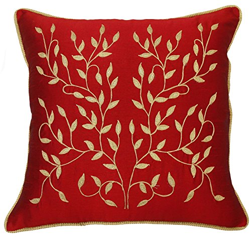 S4Sassy Red Pillow Case Poly Dupion Leaf Embroidered Cushion Cover Throw Home Decor - 22 x 22 ()
