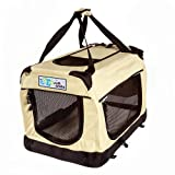 GoGo Pet 3-Door Soft Dog Crate, Medium 36″L x 25″W x 25″H, Tan