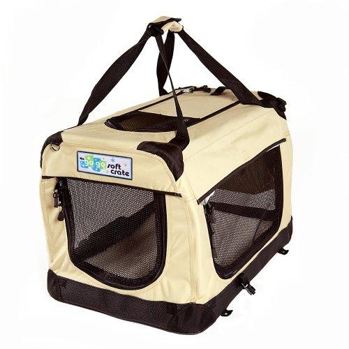 Cheap GoGo Pet 3-Door Soft Dog Crate, Medium 36″L x 25″W x 25″H, Tan