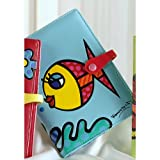 Romero Britto Passport Cover - Fish on Blue Background