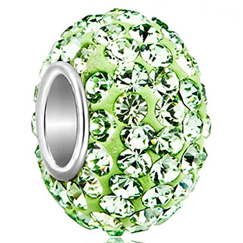 CharmSStory 925 Sterling Silver Green Simulated Birthstone Charms Synthetic Crystal Bead For Bracelets