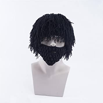 754752e8079 BMDHA Wig Men Knitted Hat Manual Moustache Halloween   Everyday Wear Wig Hat