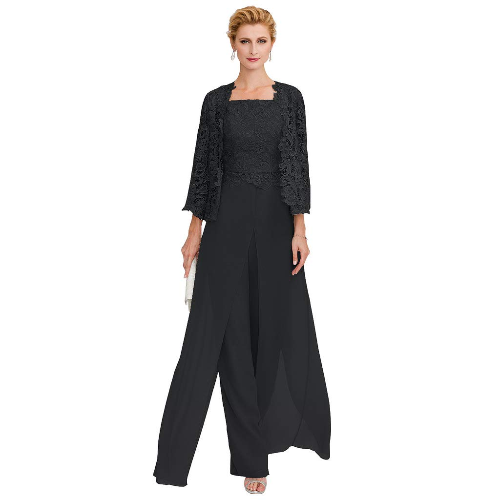 f5ad165bfd60 TS Pantsuit Straps Floor Length Chiffon Corded Lace Split Front Mother of  The Bride Dress with Appliques at Amazon Women's Clothing store: