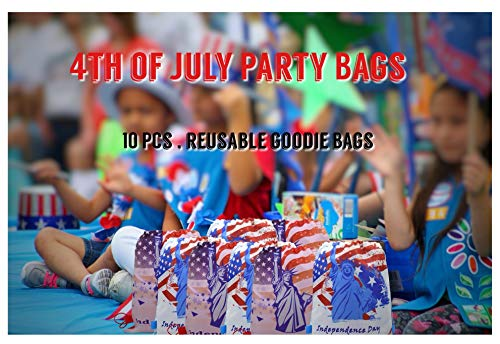 Babofarm's 10 Independent Day 4th of July Statue of Liberty Drawstring Pouch Bags Fouth July Theme Party Supplies Blue Red White Independent Day Bags Kids Patriot Liberty Theme Party Draw String Bags (10/set)