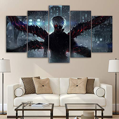 QJXX 5 Panels Paintings Artwork Tokyo Ghoul Pattern Poster Prints On Canvas Kaneki Ken Pictures Creepy Anime Manga Art Canvases Print Home Decoration,B,30×50Cm×2+30×70Cm×2+30×80Cm×1]()