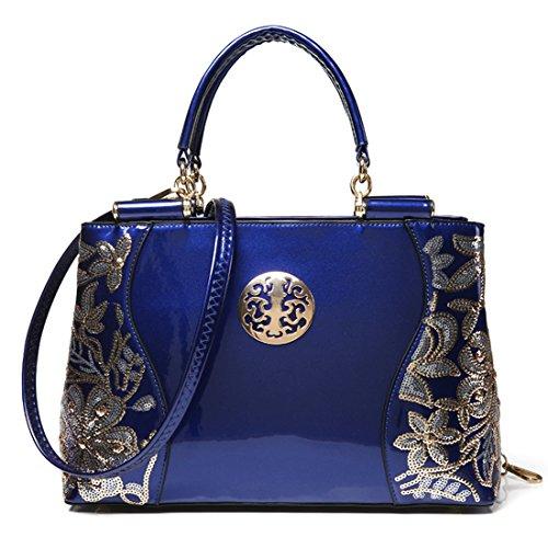 KAXIDY Lujo Bolso de Mano de Charol Cuero Bolso del Cordón del Bordado (Negro) Azul