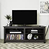 WE Furniture 58in Wood TV Stand Storage Console, Charcoal