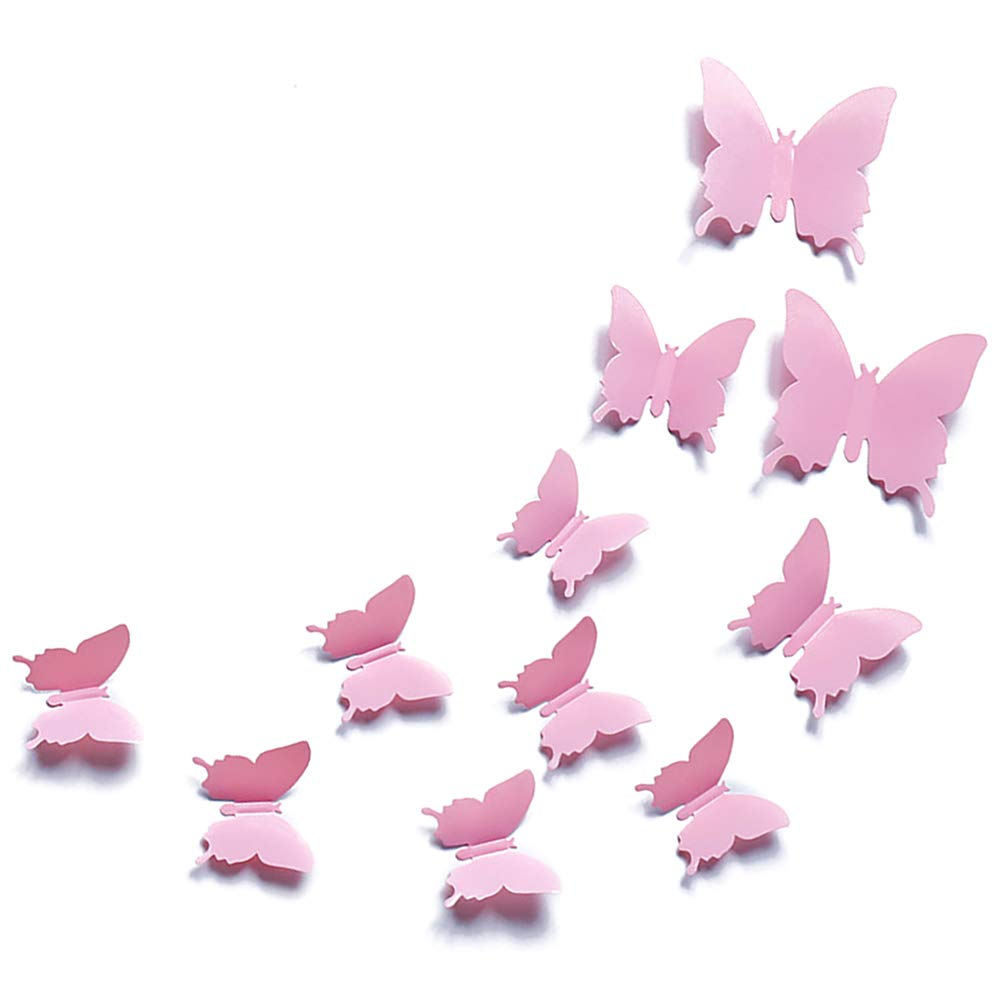 JYPHM 24PCS 3D Butterfly Wall Decal Removable Stickers Decor for Kids Room Decoration Home and Bedroom Mural Pink
