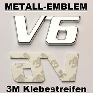 V6 Emblem Zeichen Chrom Schriftzug 3D Logo Auto Aufkleber Tuning Sticker Metall