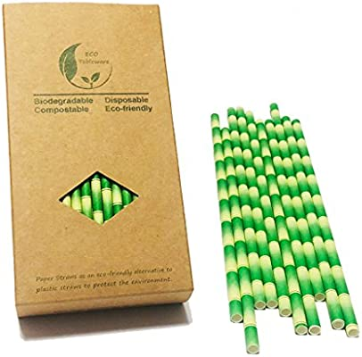 Compostable Straws 7.75 inch, ECO Biodegradable Bamboo Paper Drinking Straws