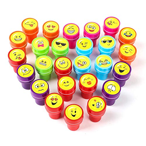 XIAOYAO Stamps for Kids, Party Favors, 26 Pieces Assorted Stamps for Kids Self-Ink Stamps, Easter Party Favor for Kids (Emoticon)