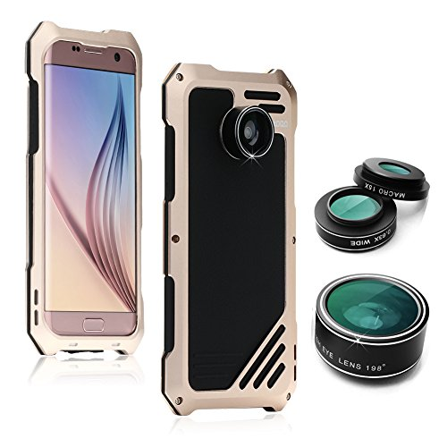 Samsung Galaxy S7 Edge Camera Lens Accessories Kit, OXOQO Shockproof Aluminum Case with 3 in 1 198° Fisheye Lens + 15X Macro Lens + Wide Angle Lens, Gold -  6025779521567