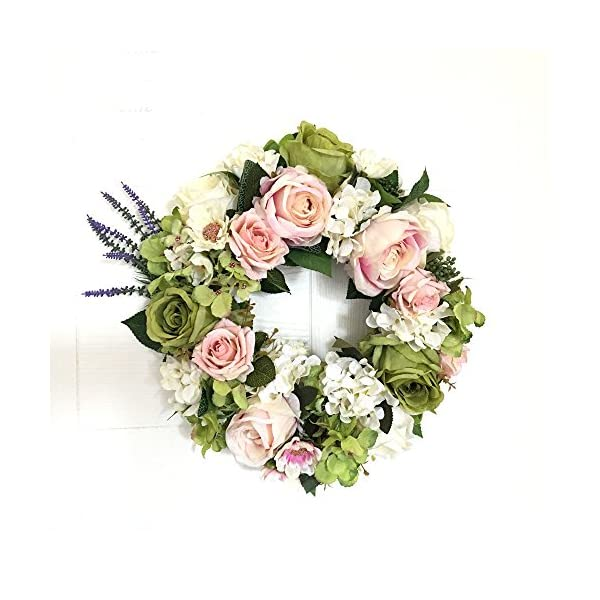 LI HUA CAT Handmade Floral Artificial Flowers Garland Rose Wreath for Home Party Decor (Valentine's Wreath-Green)