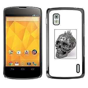 GOODTHINGS Funda Imagen Diseño Carcasa Tapa Trasera Negro Cover Skin Case para LG Google Nexus 4 E960 - cráneo punky cartel blanco negro del motorista