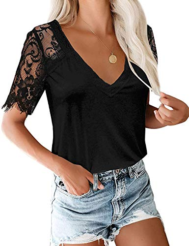 LADIES' V-NECK LACEY SHORT-SLEEVED SHIRT