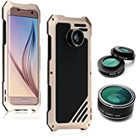 Samsung Galaxy S7 Edge Camera Lens Accessories Kit, OXOQO Shockproof Aluminum Case with 3 in 1 198° Fisheye Lens + 15X Macro Lens + Wide Angle Lens, Gold