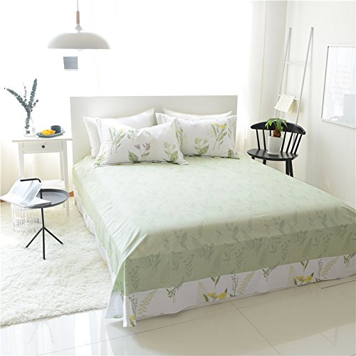FADFAY Shabby Green Floral Duvet Cover Set Green Yellow Purple Blue Flowers Cotton Bedding Set 3 Pcs(1duvet Cover & 2pillowcases)California King Size by FADFAY (Image #2)