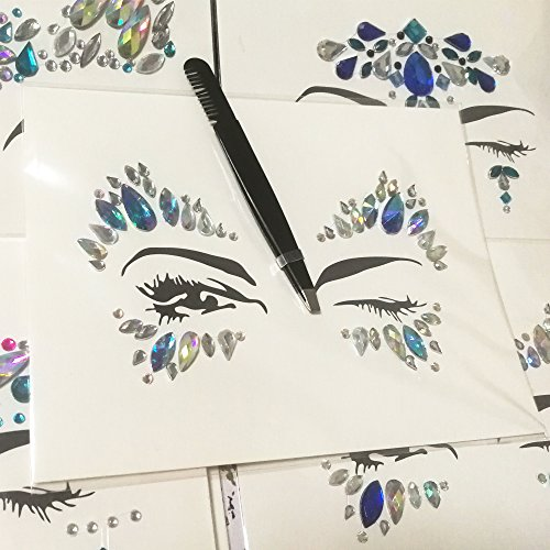 Face Jewels Glitter Temporary Tattoo With Tweezers Tool,6 Sets Body Rhinestone Jewelry Stickers Crystal Mermaid Eyes Tears Gems Stones For Festival Party Women by TTSAM (Image #3)