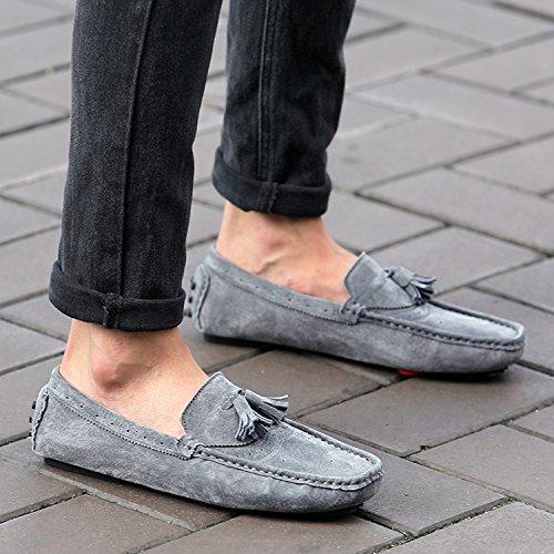 Miyoopark - Mocasines de Piel para hombre gris